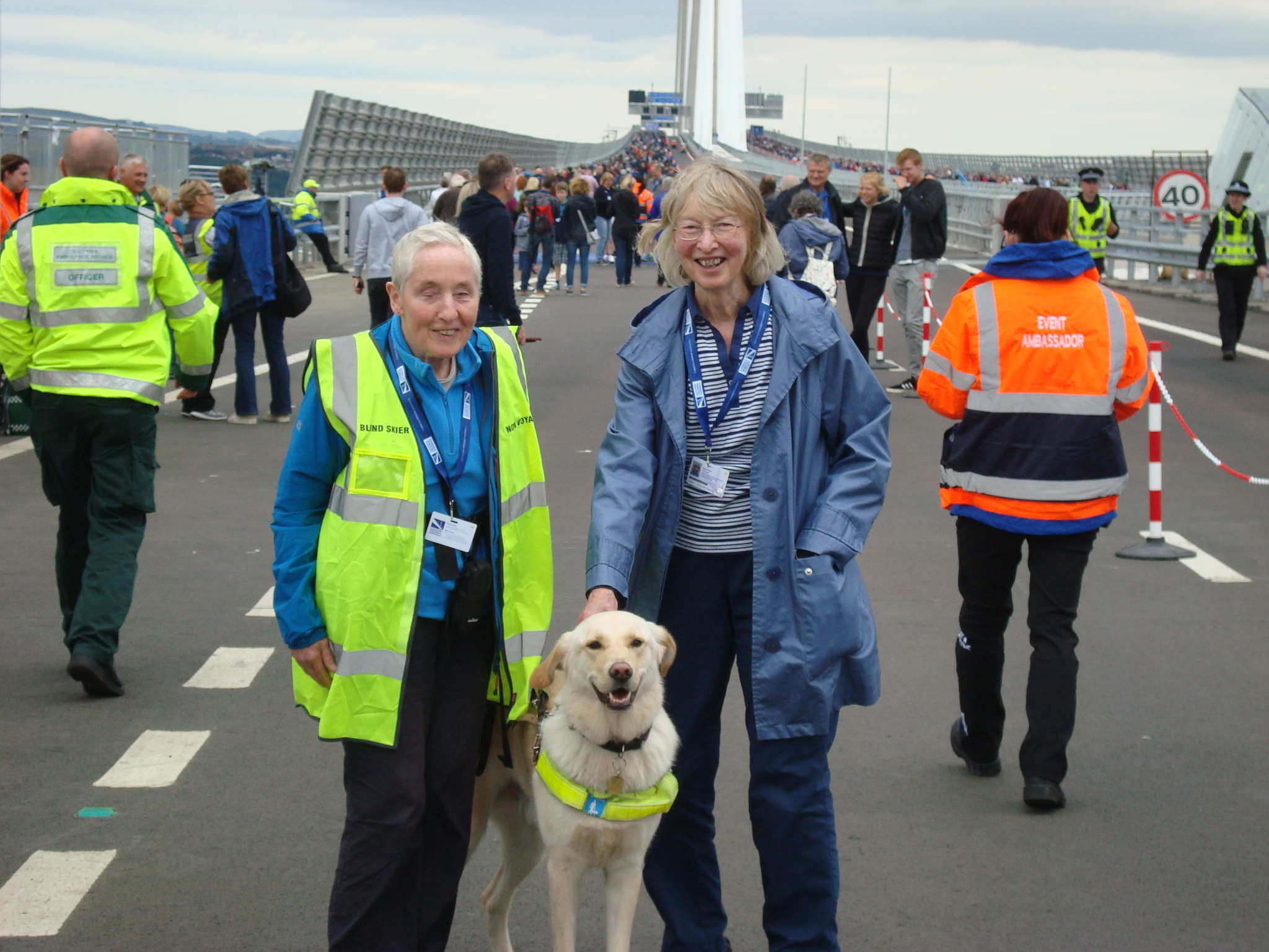 Elspeth, Tyson and Mary on Queensferry Crossing